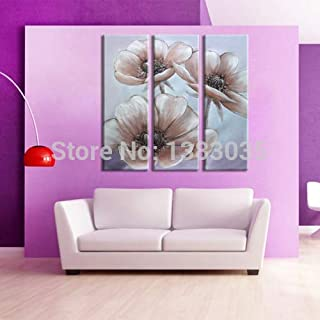 DIU Hand Painted Wall Art Picture Flower Oil Painting Modern Abstract 3 Panel Canvas Decoration Home Sets