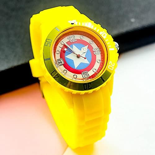 BCCDP Reloj de Silicona para Estudiantes con diseño de Escudo de Capitán América para Hombres y Mujeres,Niños Impermeable Fácil de Leer Relojes de Pulsera con Correa Suave para Niñas