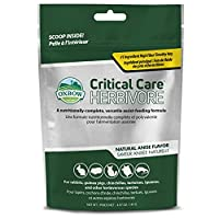 Critical Care is a Timothy Hay based high fibre syringe feeding formula for herbivores Ideal for illness, dental problems or surgery Vitamin C and electrolytes Critical Care is intended to be used with a vets supervision