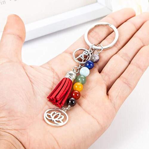 Toee Llavero de chakra, cuentas de piedras coloridas, chakras, energía, yoga, fitness, llavero de loto, borla de borla