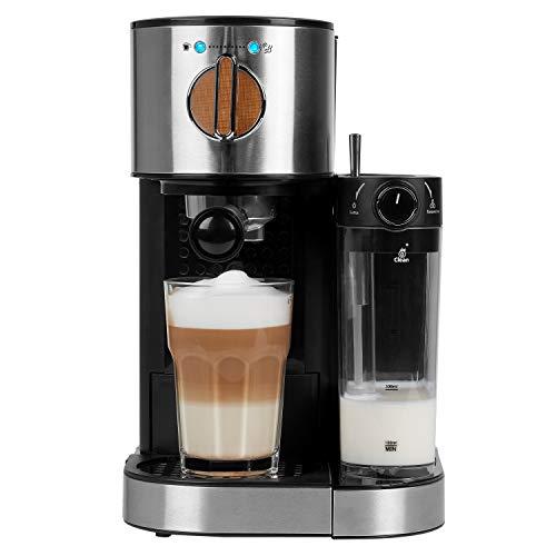 MEDION Espressomaschine mit 1300 Watt, 15 bar, 1200 ml abnehmbarer Wassertank, 700 ml Milchtank mit Aufschaumdüse, Aluminium Siebträger, MD 1711