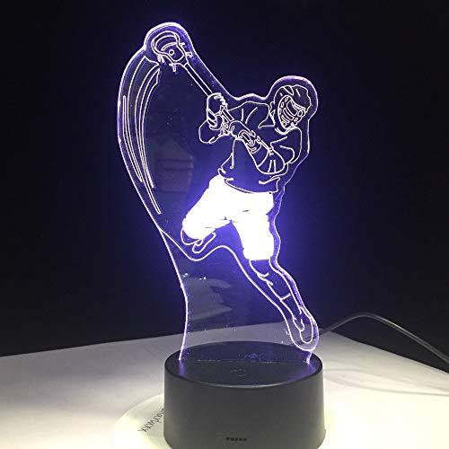 Nur 1 Stück Eishockey Sportmodellierung 3D Tischlampe LED Nachtlicht USB Schlafzimmer Schlafbeleuchtung Sportfans Geschenk Wohnkultur