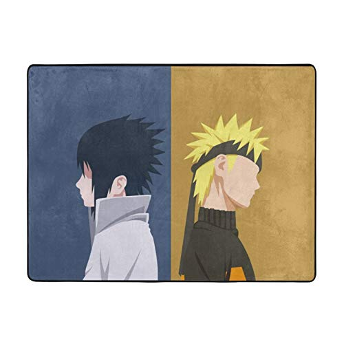 Anime NARUTO Uchiha Sasuke Uzumaki Naruto Alfombras Alfombra Grande Alfombra Deslizable Decorador Suelo para Dormitorio Habitación Cocina