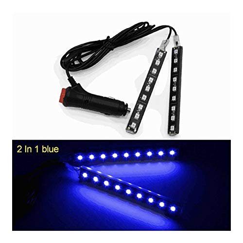 Interior del coche LED de luz decorativa Barra ambiente Pie lámpara con encendedor de cigarrillos de 12V Auto Accessorie 2 / 4pcs (Emitting Color : 2x9 led blue)
