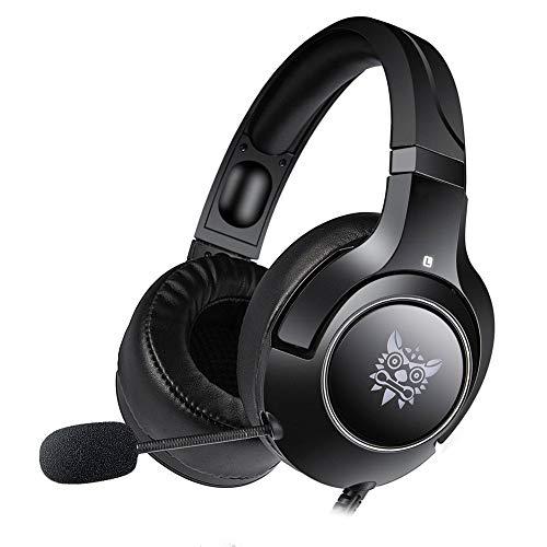 Auriculares for juegos: for Xbox One, PS4, PC, auriculares for juegos de computadora con cable estéreo, con micrófono, luces LED de reducción de ruido y control de volumen ( Color : Black )