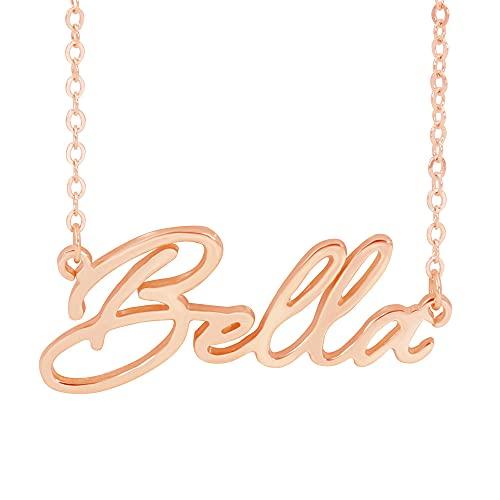 RemonSum Collar personalizado con nombre personalizado chapado en plata de ley 925 con colgante de placa de identificación para mujeres, hombres y niñas,
