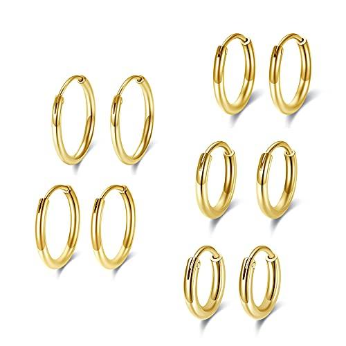 Juego de 5 pares de pendientes unisex de acero inoxidable, anillos para oreja, diámetro 8/10/12/14/16 mm, Acero inoxidable,
