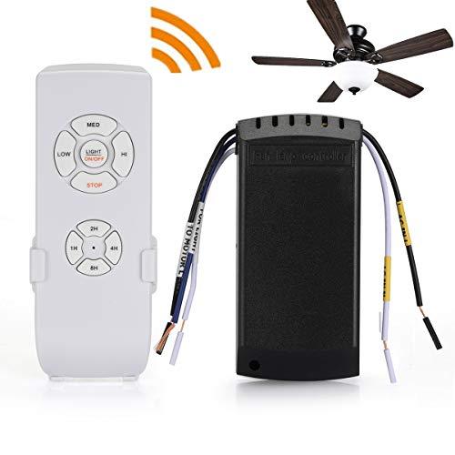 QIACHIP Actualizado WiFi Universal Control Remoto Para Ventilador De Techo De Luz, 3 Velocidades, 4 Temporizadores, Inalámbrico Cambiar Kit, Soporte de aplicaciones, Compatible Para Alexa, Google Casa