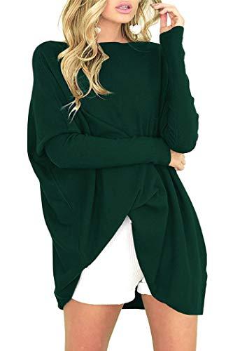 Odosalii Pull ample asymétrique chauve-souris pour femme, vert foncé, XL