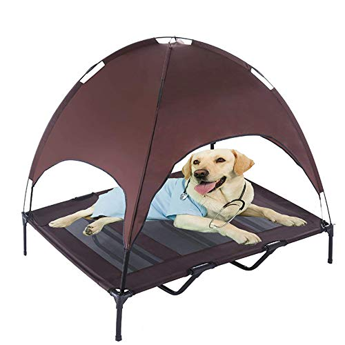 """RELIANCER Large 48"""" Elevated Dog Cot with Canopy Shade 1680D Oxford Fabric Outdoor Pet Cat Cooling Bed Tent w/Convenient Carrying Bag Indoor Sturdy Steel Frame Portable for Camping Beach (48, Brown)"""