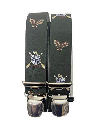 Generisch Tirantes de pantalón Jäger GEWEHR de Austria Vienna Vienna Vienna en diseño cazador, 35 mm de ancho en forma de H con 4 clips extra fuertes (diana de objetivo)