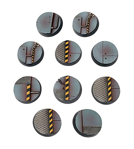 War World Gaming Industry of War Sci-Fi Industrial Round Miniature Bases x 10 (25mm) – 28mm Wargaming Terrain Model Diorama Figure Painting Wargame Battle Army