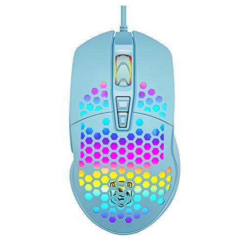 Ratón Gaming, THUN-CT Ratón USB con Cable Honeycomb,Raton RGB ,7 Botones Programados, 4 PPP Ajustables, Ratón óptico ErgonómicoPara Juegos para Computadora Portátil con PC Windows 7/8/10/xp