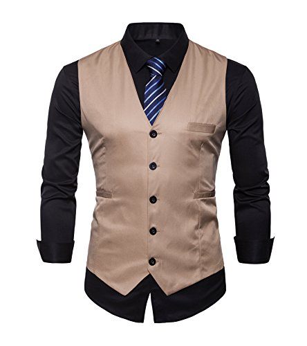 Chaleco de AYS, para hombre, entallado, liso, para traje, de estilo informal, tallas de M a 3XL Beige beige 44