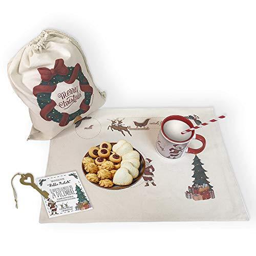 Dacl'Art Letterina Babbo Natale Kit per la Cena di Babbo Natale in Tessuto Tazza tovaglietta e Sacco Made in Italy