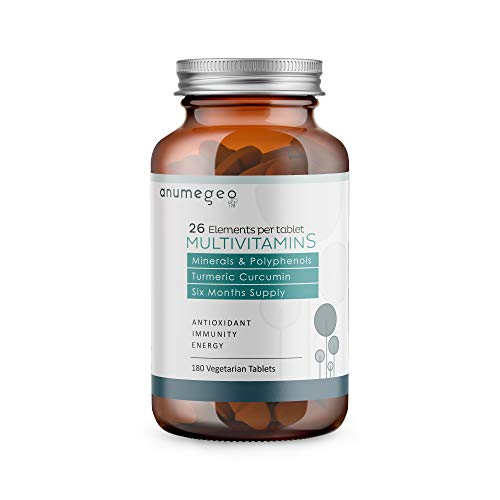 ANUMEGEO Multivitamins & Minerals - 26 Essential Active Elements Vitamins, Minerals, Curcumin, Polyphenols antioxidant for The Immune System - 180 Vegetarian Tablets, 6 Month Supply.