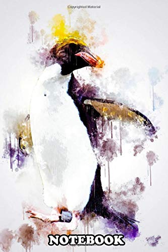Notebook: Macaroni Penguin In Watercolor , Journal for Writing, College Ruled Size 6