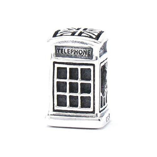 EvesCity UK - Colgante de Plata de Ley 925, diseño de Cabina de teléfono