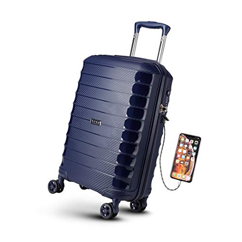 Kono 55cm Hard Shell Carry on Cabin Suitcase with USB Port TSA Lock Spinner Polypropylene Luggage 37L (Navy), 20''