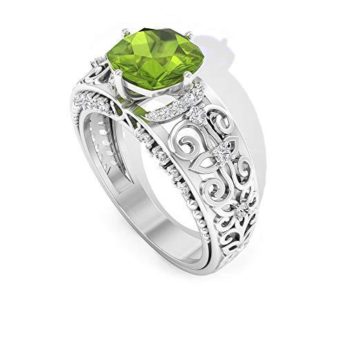 Rosec Jewels 14 quilates oro blanco cojín redonda Green Peridoto/Olivino Diamond
