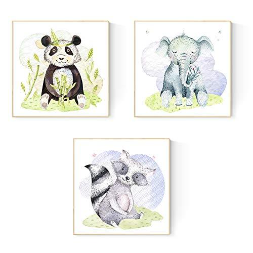 Nacnic Set de 3 láminas para enmarcar Elefante, Oso Panda Y Oso Hormiguero Posters para habitación Infantil. Estilo Acuarela y Tonos Pastel