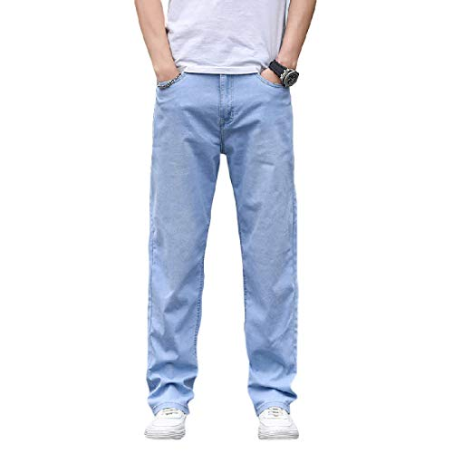 Pantalones Vaqueros para Hombre Tendencia de Verano Pantalones Vaqueros Delgados Moda Todo fósforo Pantalones Rectos Sueltos de Gran tamaño 40
