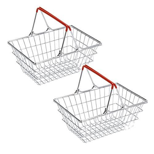 2er Set Mini Deko Supermarkt Einkaufskorb aus Metall, Aufbewahrung lustiger Ablagekorb in Bad, Küche oder Flur, Farbe: Silber mit roten Griffen, 18x13x8 cm
