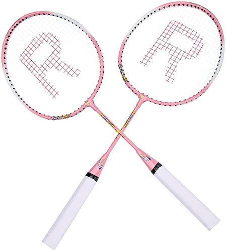 Badmintonschläger Set, Cartoon Durable Ferroalloy Badminton Schläger Schläger Weiche Schaumstoff behandelt Outdoor Indoor Garden Spaß Spiel Für Kinder Kinder (Rosa) badminton sets ( Color : Pink )