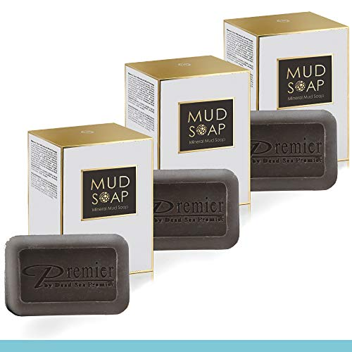 Dead Sea Premier 3-Piece Mineral MUD and salt Soap bar, for Healthy looking skin. Natural body wash, face wash, hand soap, for all Skin Types. Therapeutic and Antibacterial, helps with Acne, Rosacea, Eczema and Psoriasis, 3.4 Oz