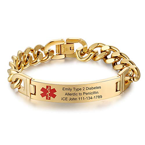 7.5 to 9.5 Inches Free Engrave Emergency Medical Bracelets for Men Women Alert ID Bracelets for Adults Titanium Steel Medical Alert Bracelets for Women (Gold-7.5 inches for women)