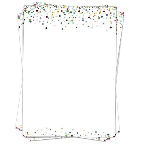 50 Blatt Briefpapier (A4) | Konfetti Look Bunt | Motivpapier | edles Design Papier | beidseitig bedruckt | Bastelpapier | 90 g/m²