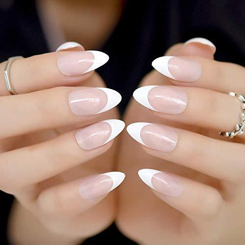CLOAAE Nails White False False Nails Pointed False Nails Girls Nails Sharp Tip Full Cover Wear Nail Tips