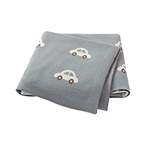 Hadetoto Baby Blanket 100% Cotton Knitted Toddler Blankets with Cute Car Patterns Size 40 x 30 inch (Grey)