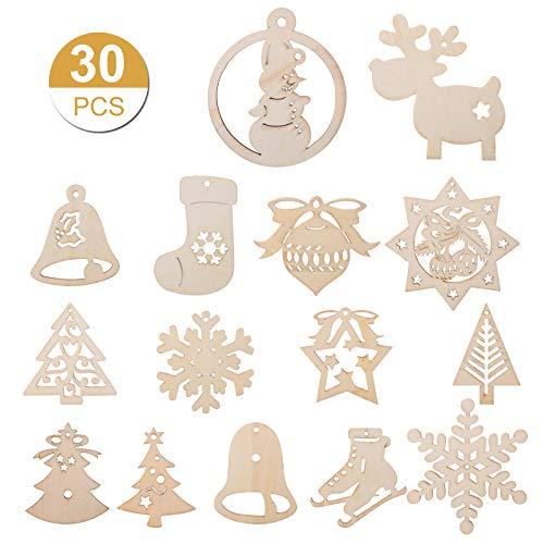 Kesote 30 Adornos Colgantes de Madera Árbol de Navidad Copo de Nieve...