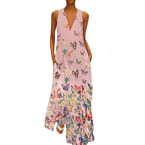 Lulupi Bohemian Kleid Lang Maxikleid Damen Sommerkleid Große Größen V-Ausschnitt ärmellos Retro Kleid Geblümtes Kleid Schmetterlingsdruck