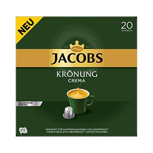 Jacobs Kaffeekapseln Krönung Crema, 200 Nespresso kompatible Kapseln, 10er Pack, 10 x 20 Getränke, 1040 g