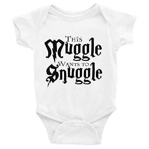 DKISEE - Tutina unisex per neonato, a maniche corte, con scritta in inglese 'This muggle wants to coccolle', colore: Bianco