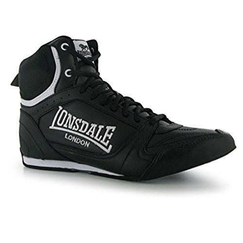 Lonsdale Mens Boxing Boots Training Lace Up Sport Shoes Trainers Footwear Black/White UK 9 (43)