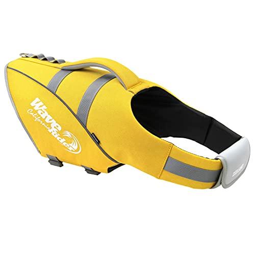 Q-YR Chaleco Salvavidas para Perros Chaleco con Flotabilidad Superior Manija De Rescate De Alta Visibilidad Flotador De Traje De Baño De Flotador para Piscina Beach Boating,Amarillo,L