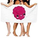 Happy Kawaii - Toalla de baño con emoticono de frambuesa