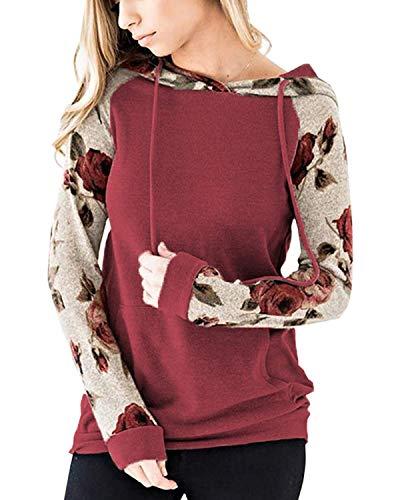 ABRAVO Mujer Sudadera con Capucha Manga Larga Jerséis Sueltos Sudadera con Estampado la Camiseta Otoño Invierno Mujer Chándal (2XL, Rojo)