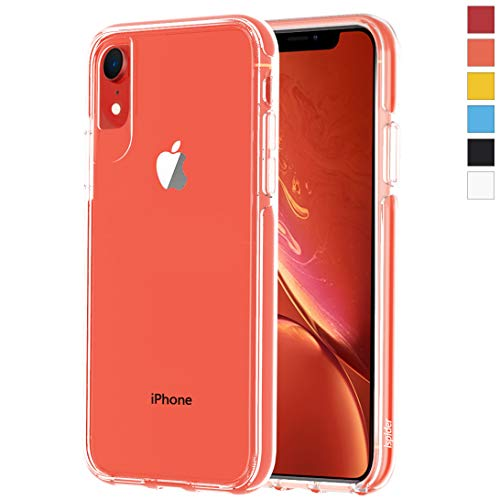 ismabo Clear Case Designed for iPhone XR, [9.8 Feet Anti-Fall] Premium Protective, Protective Case for Apple iPhone XR, [Hard PC Back and Dual-Layer Reinforced TPU Bumper Frame] - Coral Bumper