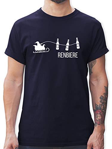 Typisch Männer - Renbiere - M - Navy Blau - Tshirts pink Herren - L190 - Tshirt Herren und Männer T-Shirts