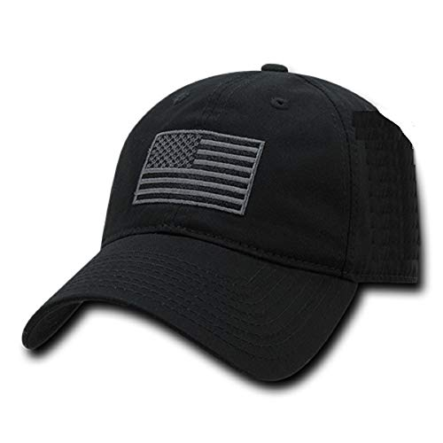 Rapid Dominance American Flag Embroidered Washed Cotton Baseball Cap - Black
