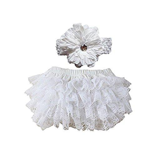 Culotte Bloomers Bebe Fille Dentelle Nappy Cover Frilled Knickers Filles Bandeau Ensemble Pour Bébé Photographie Prop Costume - Blanc