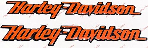 Stemma logo decal HARLEY DAVIDSON, coppia adesivi resinati, ORANGE, effetto 3D. Per SERBATOIO o CASCO.