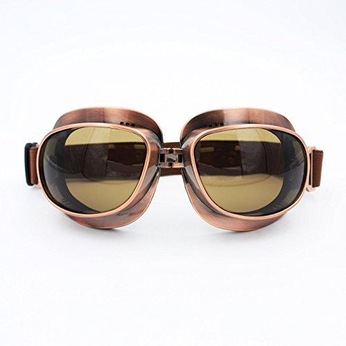 LEAGUE&CO 15 Farben Retrodesign Motorradbrille Schutzbrille Fliegerbrille ATV Brille für Harley Honda Yamaha (Kupfer Farbe, Grau)