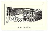 ポスター ヴェローナ larena di Verona 額装品 アルミ製ベーシックフレーム(ホワイト)