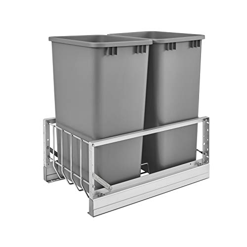 Rev-A-Shelf 5349-2150DM-217 14.81-Inch Double 50-Quart Kitchen Cabinet Pull Out Waste Container Storage with 2 Trash Cans and Wire Basket, Silver