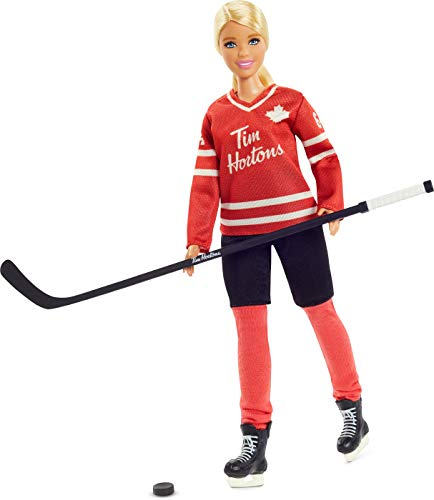 Tim Hortons Barbie Doll (12-inch Curvy) Collectible Barbie Doll Wearing Hockey Uniform, with Doll Stand and Certificate of Authenticity, for 6 Year Olds and Up, Red